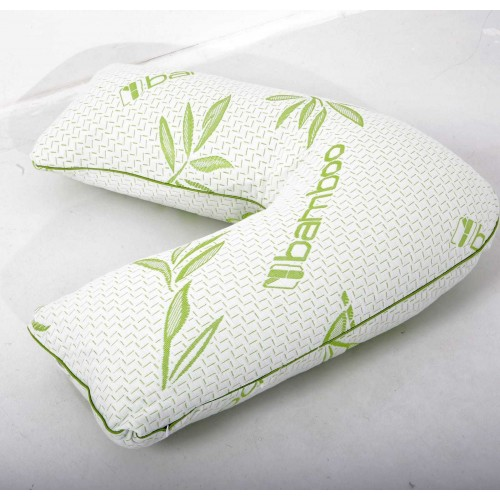 V-Shaped Bamboo Pillow Orthopedic Hollowfibre Filled Head Neck Shoulder Support
