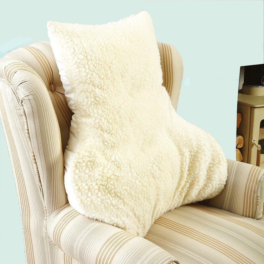 Lumbar Back Support Faux Sheepskin 100 Natural Wool Chair