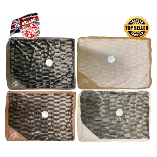 Faux Fur Dog Beds Cover Cushion Paw Embroidery Premium Quality Soft Washable Bed