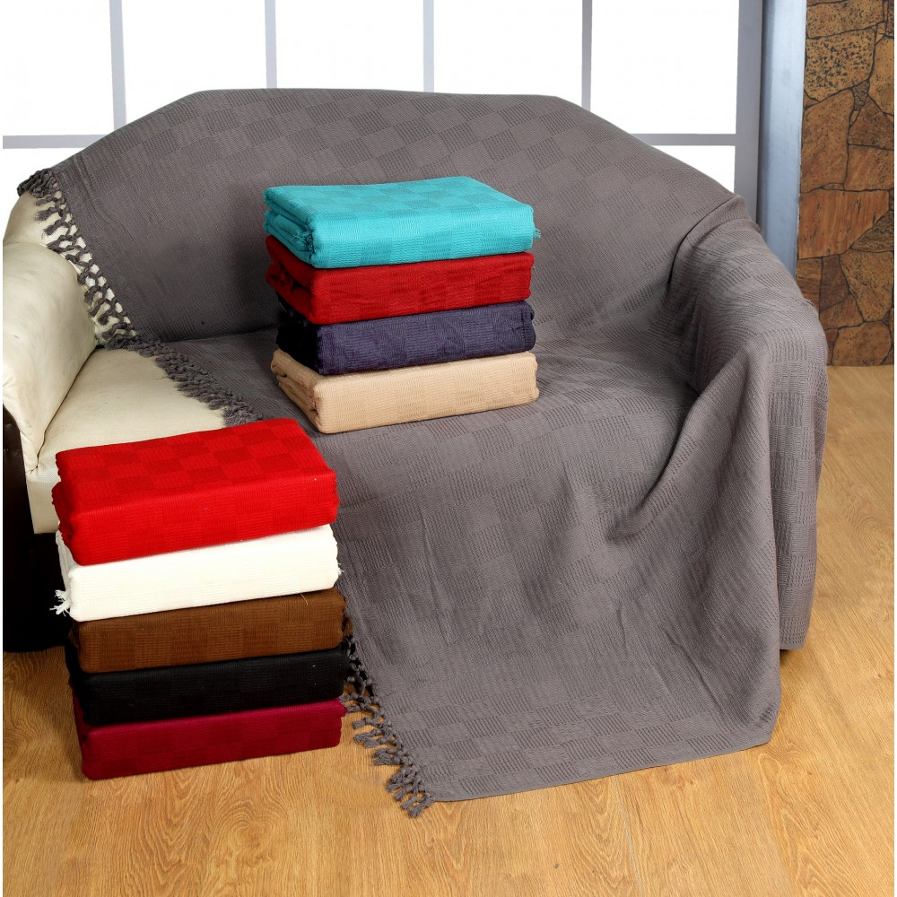Ascot Cotton Sofa Throws / Bed Throws (Clearance)