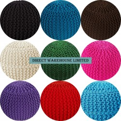 New Luxury 50CM Cotton Moroccan Knitted Pouffe Foot Stool Living Bedroom Sofa